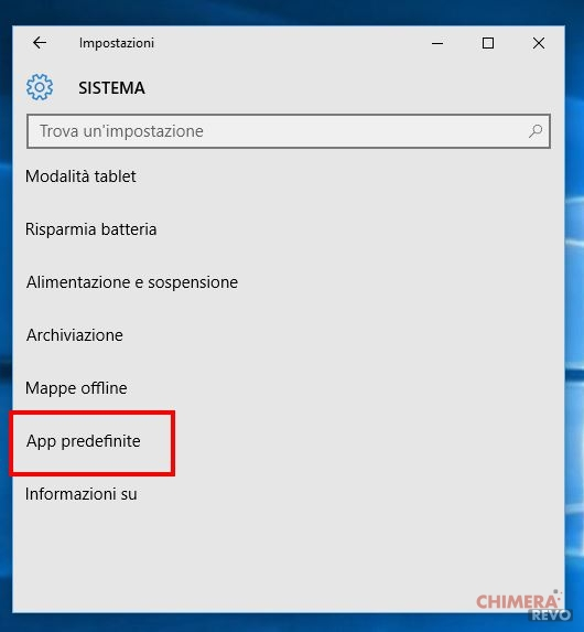 cambiare browser in windows 10