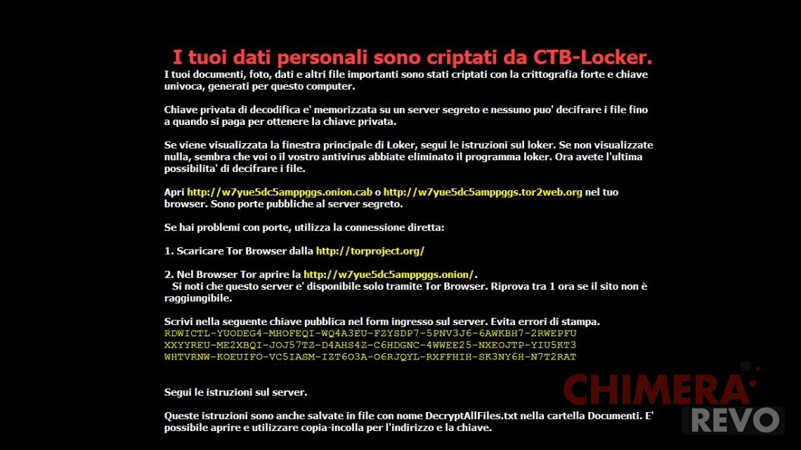 CTB-Locker, la variante italiana