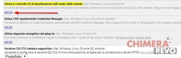 disattivare audio Chrome