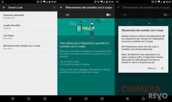 rilevamento del contatto con il corpo - Android