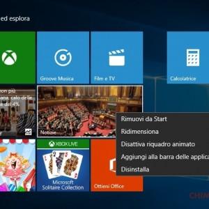 start screen operazioni tile